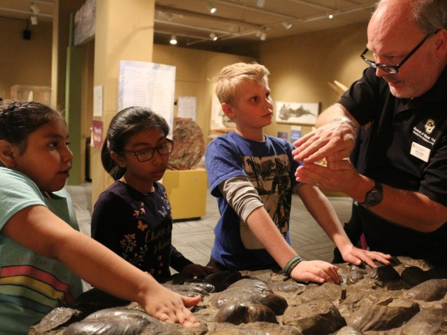 Museum educator Jim Hakala describes a clam shell fossil to University Hill Elementary School students in Boulder. (Photo by Sue Postema Scheeres, CU Boulder)