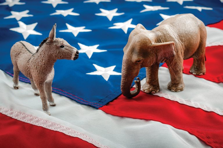 A donkey and elephant figures on the American flag.