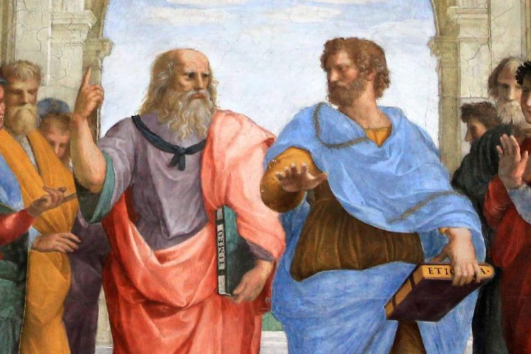 Plato and Aristotle are talking in a detail from Raphael's The School of Athens