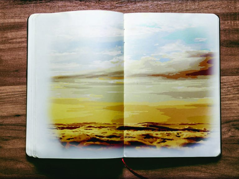 A book open to a spread featuring a painted landscape.