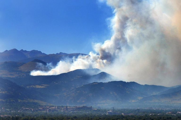 A view of the Fourmile Canyon Fire burning west of Boulder from an overlook in Louisville, Colorado on Sept. 6, 2010.
